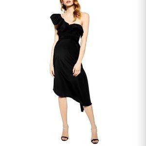 Topshop One-Shoulder Ruffle Midi Dress